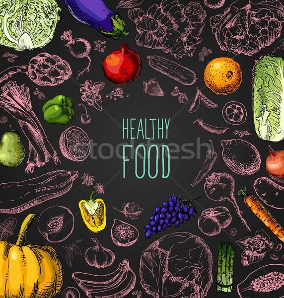 Stock photo: Restaurant organic natural vegan Food Menu set Vintage Design with Chalkboard