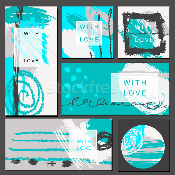 セット ユニバーサル カード 手描き テクスチャ ベクトル ストックフォト © Mamziolzi