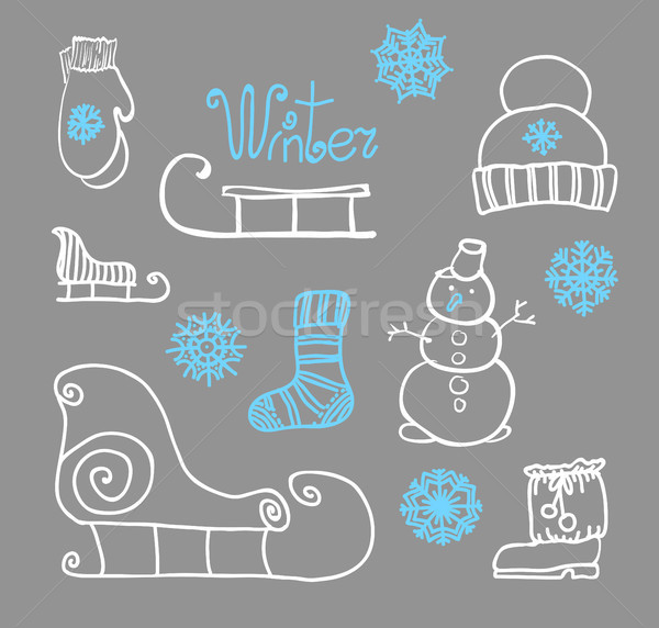 hand drawing Winter holiday Set Stock photo © Mamziolzi