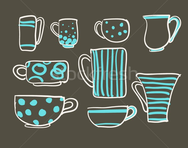 Szett csészék vektor ikonok tea kávéscsészék Stock fotó © Mamziolzi