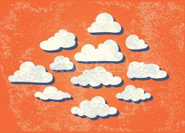Bulutlar kâğıt doku güneş kalp Stok fotoğraf © Mamziolzi
