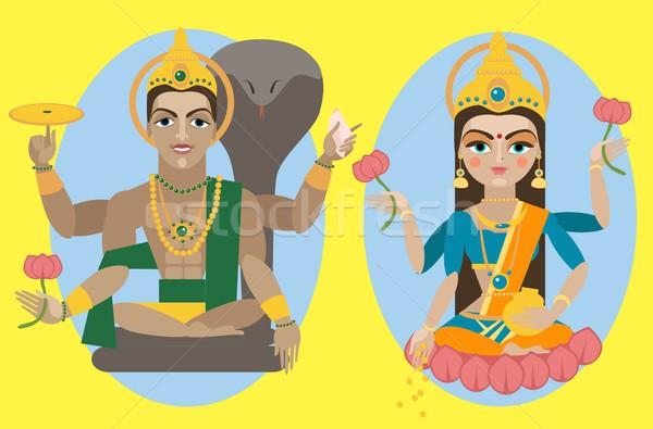 vector lord Vishnu and mata Lakshmi Stock photo © Mamziolzi