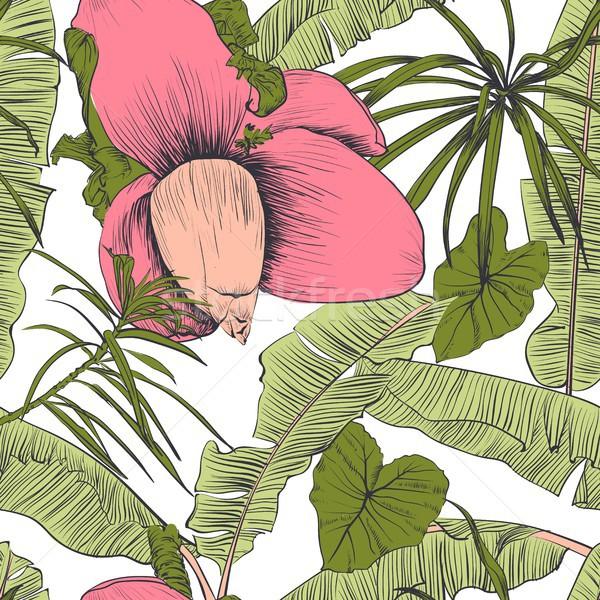 Foto d'archivio: Senza · soluzione · di · continuità · tropicali · pattern · banana · palme · decorativo
