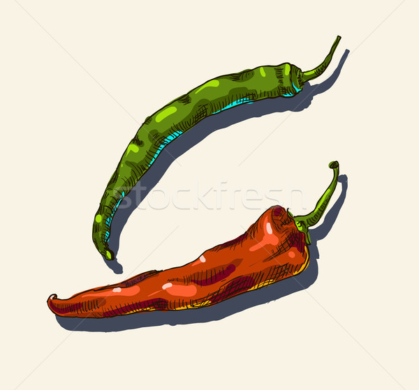 Red, green hot chili peppers. Stock photo © Mamziolzi
