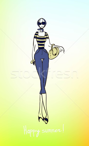 Illusztráció lány sablon terv dekoráció szeretet Stock fotó © Mamziolzi