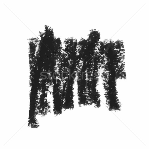 Preto cera crayon isolado branco conjunto Foto stock © Mamziolzi