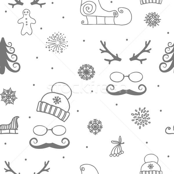 Stock fotó: Tél · végtelenített · dísz · gyönyörű · karácsony · terv