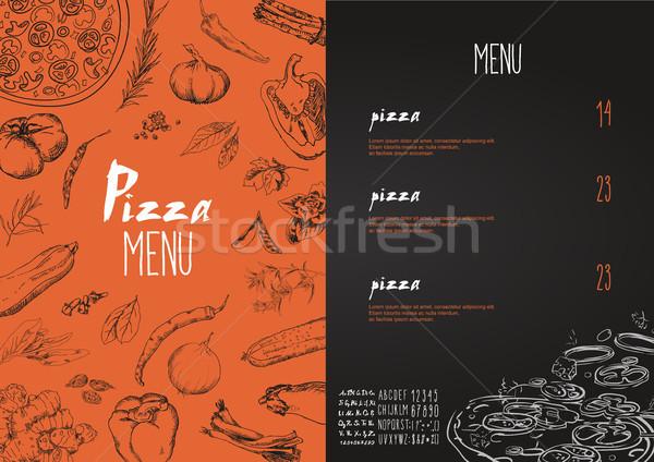Сток-фото: пиццы · меню · блюд · вектора · набор · сыра