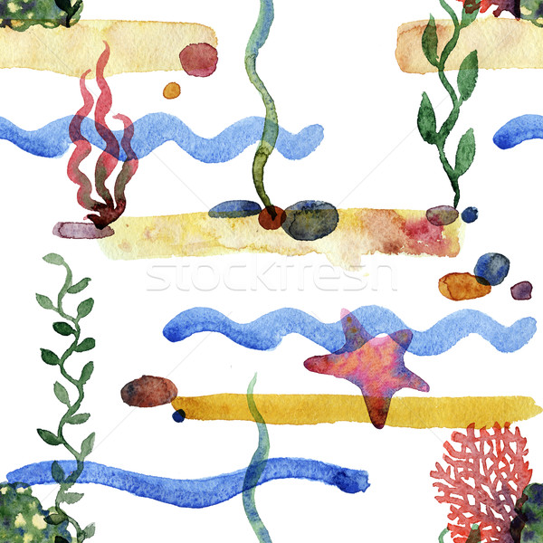 Foto d'archivio: Colorato · mare · pattern · senza · soluzione · di · continuità · sabbia · alghe