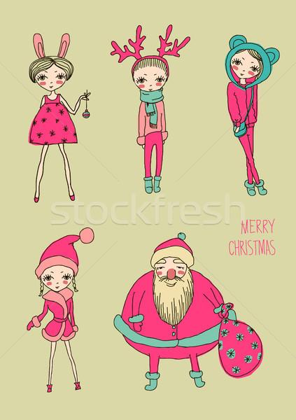 Navidad funny ninas establecer vector Foto stock © Mamziolzi