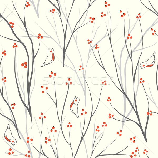 Stockfoto: Bessen · tak · naadloos · ornament · vector · textuur