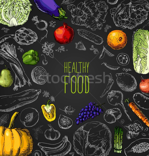 Restaurant organic natural vegan Food Menu set Vintage Design with Chalkboard Stock photo © Mamziolzi