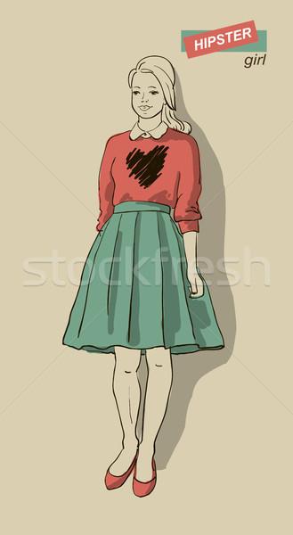 моде девочек хипстеров красивой компьютер женщины Сток-фото © Mamziolzi
