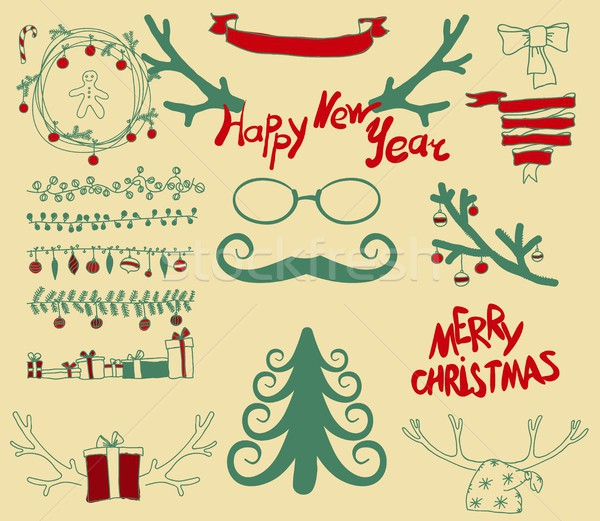 Vector Set Christmas Calligraphic Design Elements Stock photo © Mamziolzi