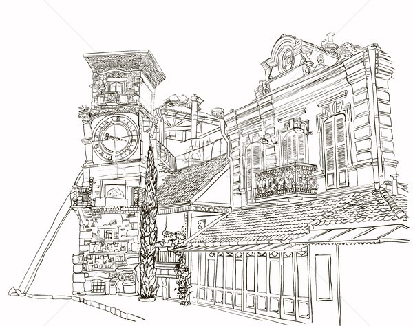 Tbilisi, Georgia, a sketch of a curve tower with a clock and an art cafe near Puppet Theater Stock photo © Mamziolzi
