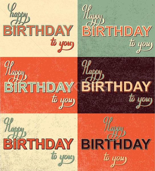 Set buon compleanno mano calligrafia vettore Foto d'archivio © Mamziolzi