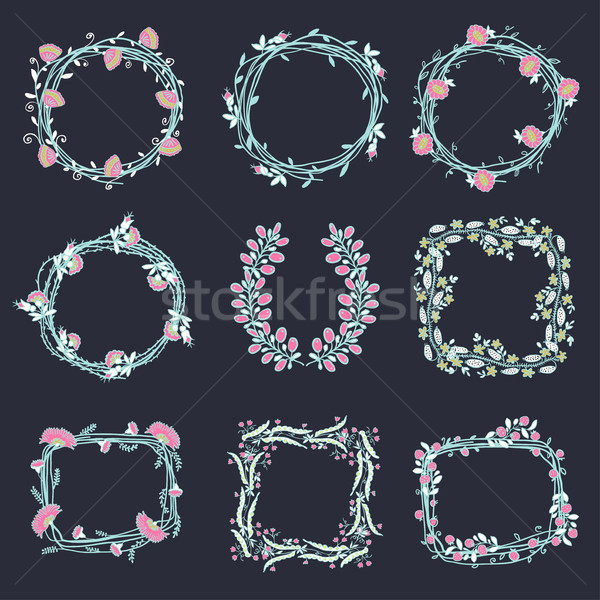 Big set of floral graphic design elements Stock photo © Mamziolzi