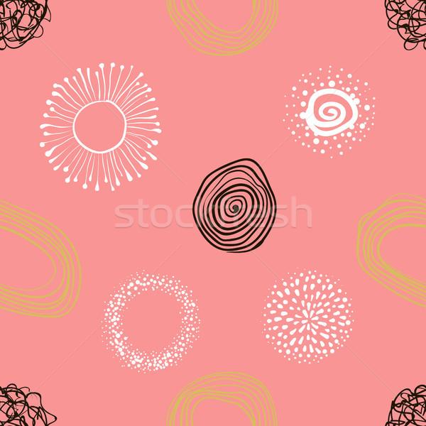 Foto stock: Vector · tejido · círculos · resumen · dibujado · a · mano