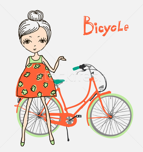 hipster girl with bicycle Stock photo © Mamziolzi