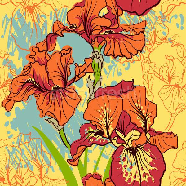 Seamless pattern with decorative  iris flower in retro colors.  Stock photo © Mamziolzi