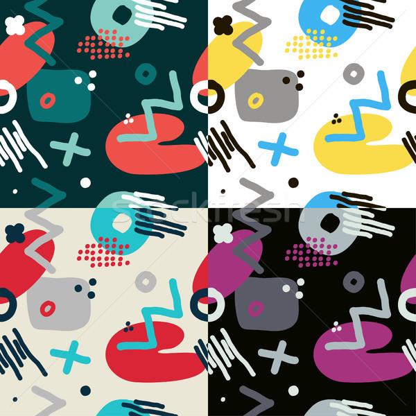 Modern hand draw abstract seamless pattern set Stock photo © Mamziolzi