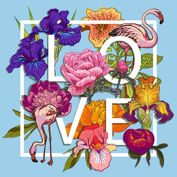 Floral oiseaux amour design graphique coloré fleurs Photo stock © Mamziolzi