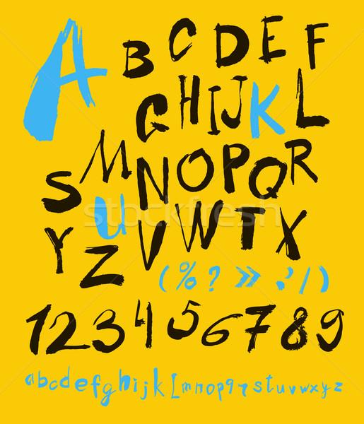 ábécé számok kézzel rajzolt vektor kézzel írott papír Stock fotó © Mamziolzi