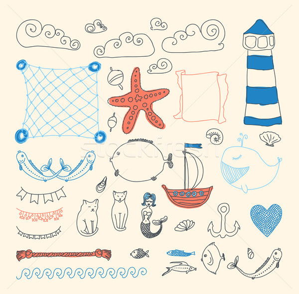set cute sea objects collection. Stock photo © Mamziolzi