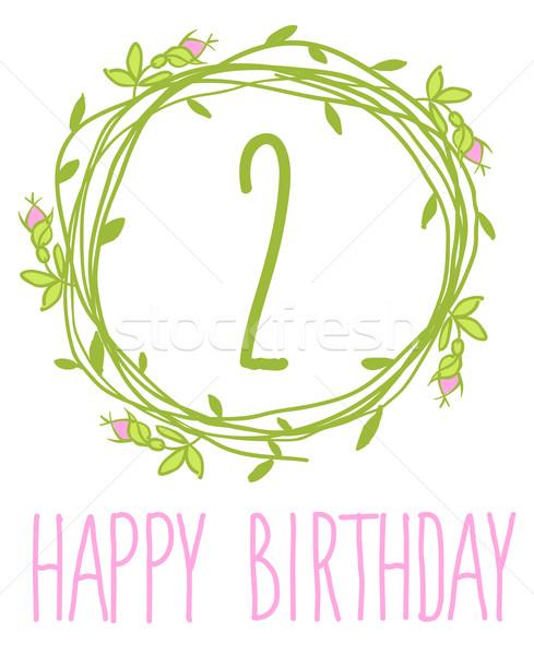 Happy birthday card invitation with Set Stock photo © Mamziolzi