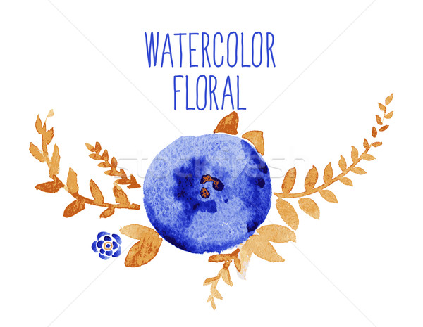 Foto stock: Acuarela · floral · ramo · decorativo · marco