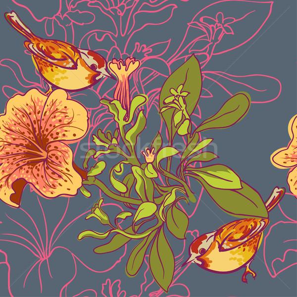 Seamless floral background with petunia Stock photo © Mamziolzi