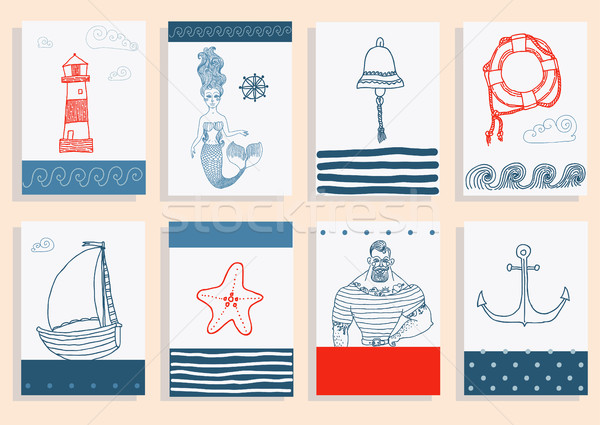 set with sailor, lighthouse, mermaid, ship and other. Stock photo © Mamziolzi