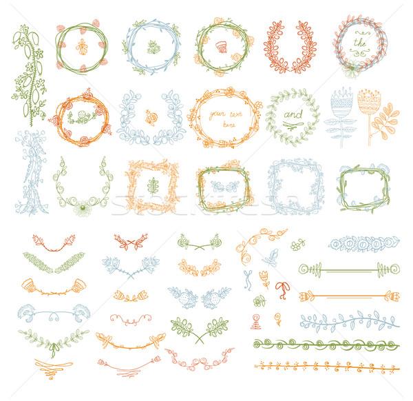 Grande conjunto floral design gráfico elementos simétrico Foto stock © Mamziolzi