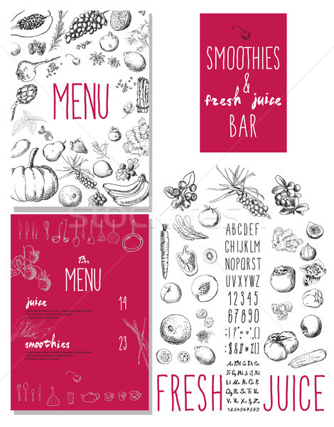 Smoothies and fresh juices bar menu Stock photo © Mamziolzi