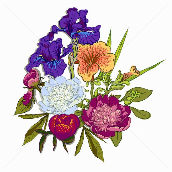 Virágmintás grafikai tervezés színes virágok póló divat Stock fotó © Mamziolzi