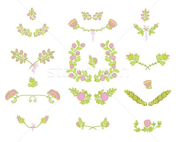 Establecer floral diseno gráfico elementos simétrico primavera Foto stock © Mamziolzi