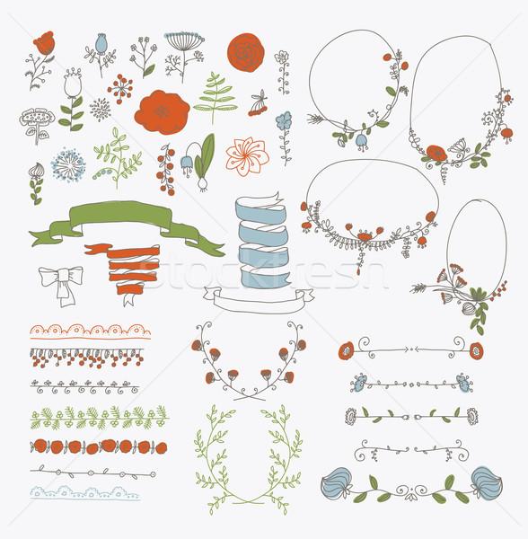 большой набор цветочный графического дизайна Элементы графических Сток-фото © Mamziolzi