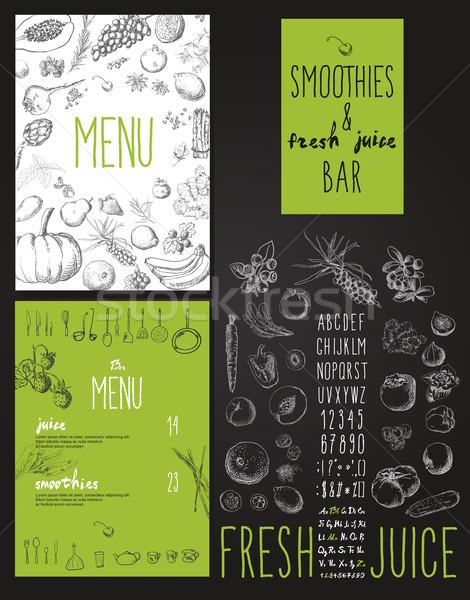 Smoothies and fresh juices bar menu Stock photo © Mamziolzi