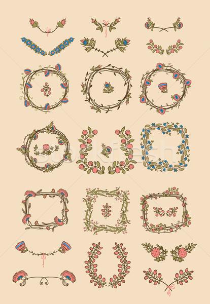 ビッグ セット フローラル グラフィックデザイン 要素 対称の ストックフォト © Mamziolzi