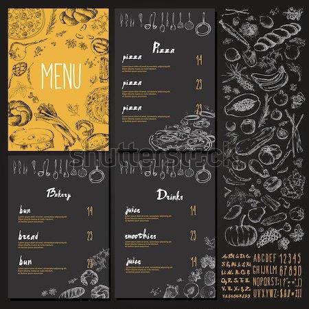 Restaurant Food Menu set Vintage Design with Chalkboard  Stock photo © Mamziolzi