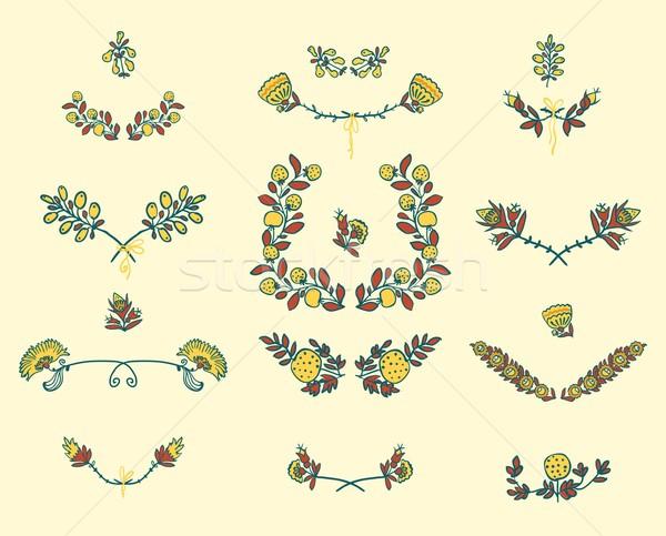 Ingesteld grafisch ontwerp communie symmetrisch voorjaar Stockfoto © Mamziolzi
