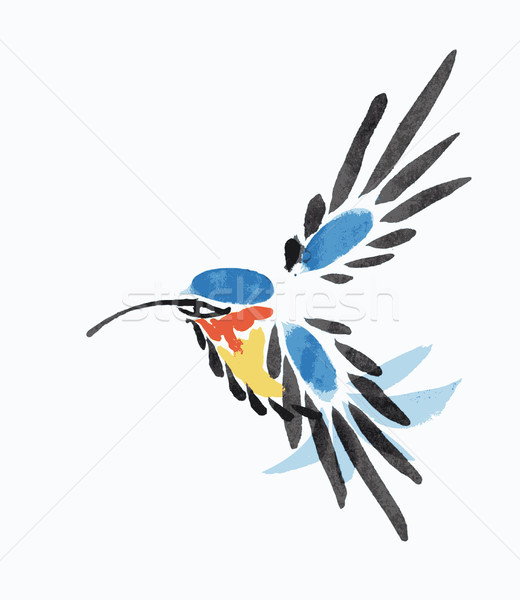 Watercolor blue hummingbird in flight.  Stock photo © Mamziolzi