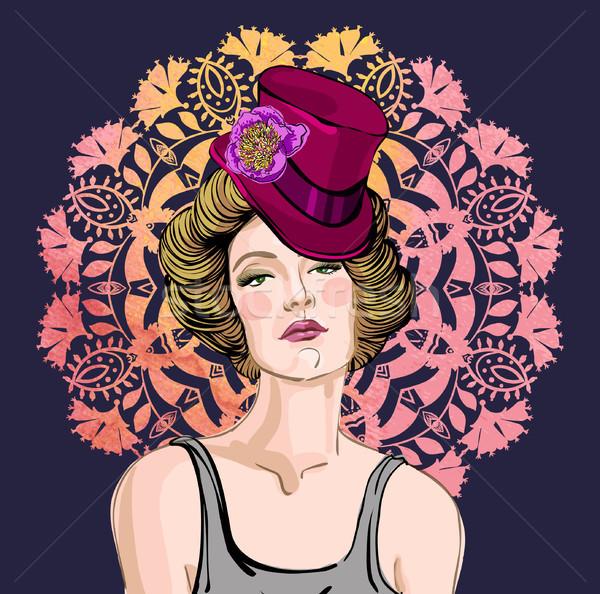 Vettore ritratto bella donna floreale Foto d'archivio © Mamziolzi