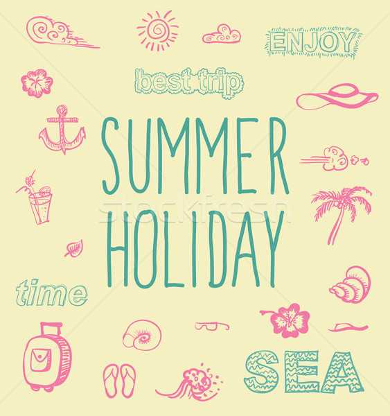 Retro elements for Summer calligraphic designs Stock photo © Mamziolzi