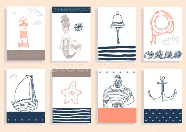 set with sailor, lighthouse, mermaid, ship and other. Stock photo © Mamziolzi