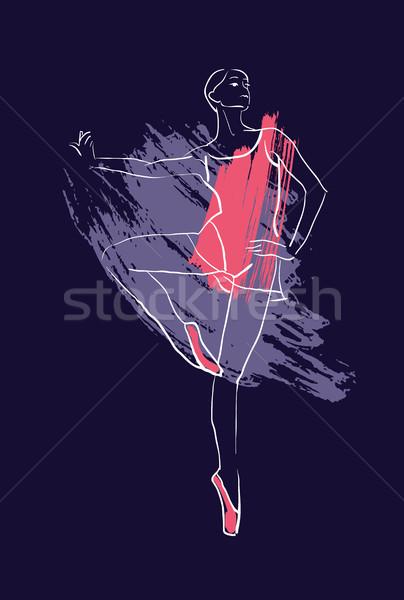 ベクトル 手 図面 バレリーナ 図 水彩画 ストックフォト © Mamziolzi