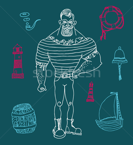Portrait barbu tatoué marin dessinés à la main Photo stock © Mamziolzi