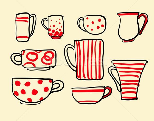 Foto d'archivio: Set · coppe · vettore · icone · tè · tazze · di · caffè
