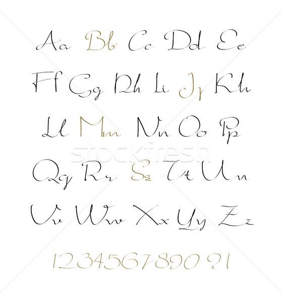 アルファベット 文字 番号 ベクトル 手描き 書かれた ストックフォト © Mamziolzi
