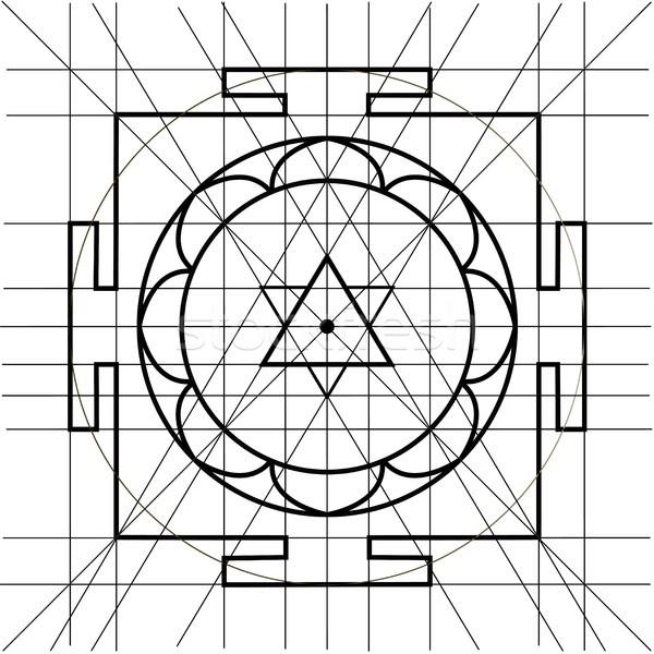 Sree Yantra. Sacred Geometry coloring book Stock photo © Mamziolzi